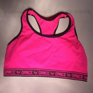 Other - Hot pink DANCE sports bra style spandex top